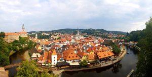 Cesky Krumlov. Vista panorámica desde los jardines del Castillo.