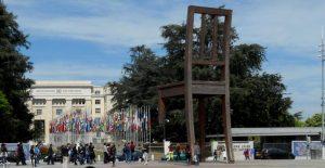 Ginebra. Palacio de las Naciones y Broken Chair
