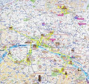 Paris. Plano de la zona más turística