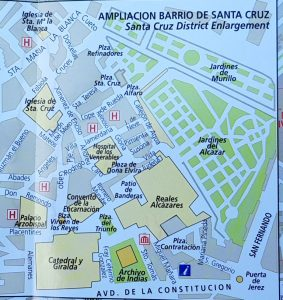 Sevilla. Plano Barrio Santa Cruz.