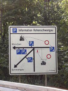 Carretera Fussen - Neuschwanstein. Panel informativo