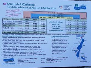 Berchtesgaden. horario barcos lago Konigsee