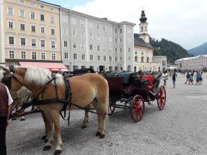 Salzburgo. Residentzplatz. Calesa.